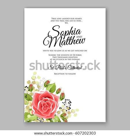 Red Rose Wedding Invitation Card Bridal Vector 607221629 – Red Rose Wedding Invitation