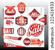 red sale labels set - stock vector