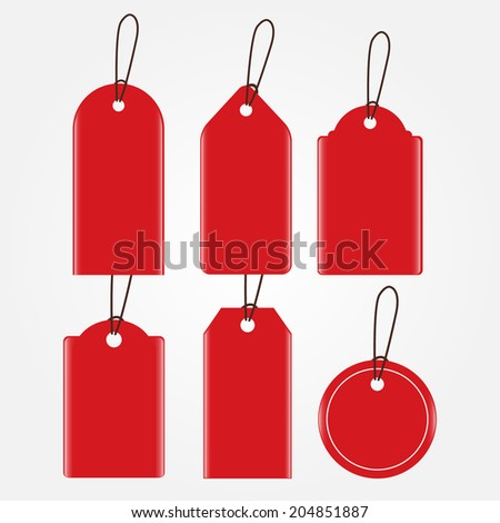 Red Sale Tags in Various Shapes