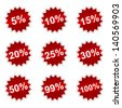 Red set of icons with percent for your design - stock photo