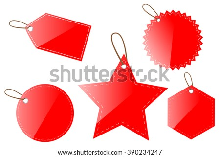 Red Shining Blank Tags
