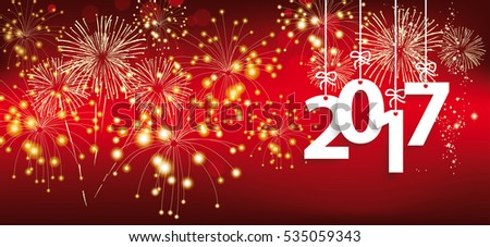 Red silvester card with hanging red numbers 2017 and fireworks. Eps 10 vector file.