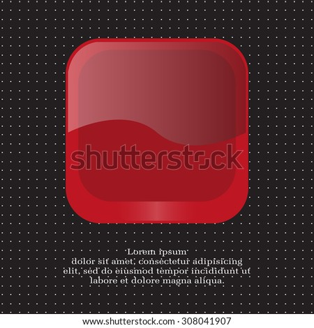 red square glossy button, vector design for website