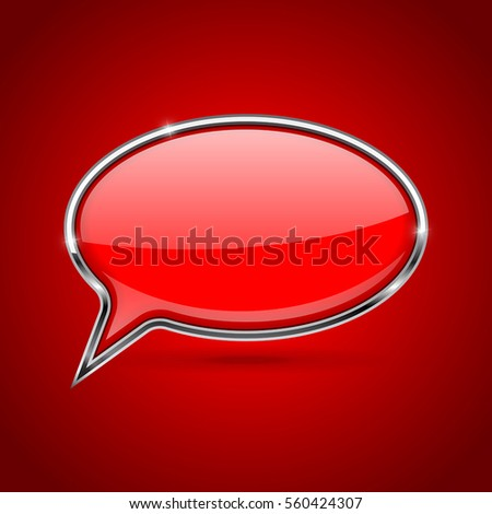 Red square speech bubble with metal frame on red background. Vector 3d illustration.