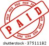 red stamp with the word paid - stock photo