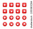 Red stickers with arrow sign. Circles and rounded square shapes with gray drop shadow on white background. This vector illustration saved in 10 eps. - stock vector