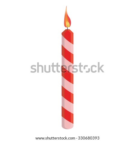 Red striped birthday candle with flame vector illustration. Place on cake