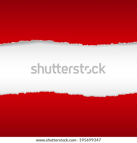 Red Torn Paper Borders Background. Vector illustrations