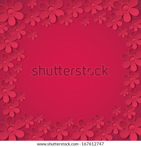 red valentine background with many flowers,  vector illustration