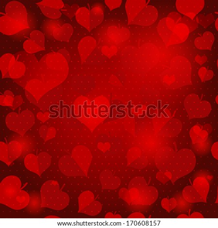 Red valentine pattern with hearts and leaves