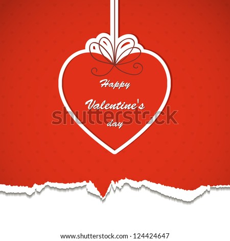 Red Valentine's Day background with heart.  Vector illustration.