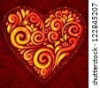 Red vector shining heart in Hohloma style on dark-red ornate background - stock