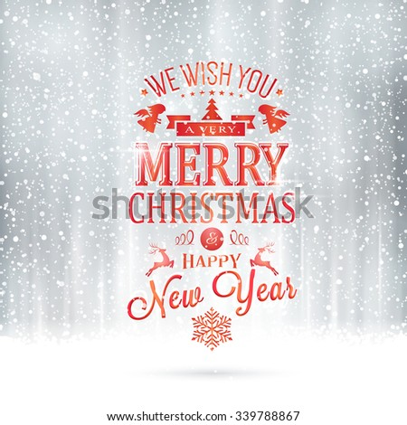 Red Wishing you a very Merry Christmas and Happy New Year lettering on a magical silver backdrop with snowfall and light effects.