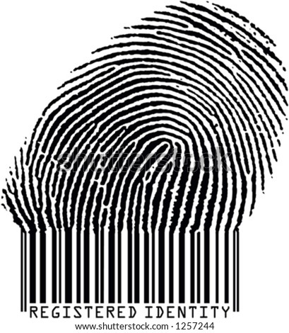 Registered Identity - Fingerprint becoming barcode (vertor format)