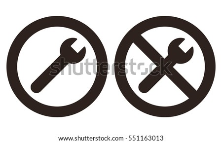 Repair and no repair symbol isolated on white background