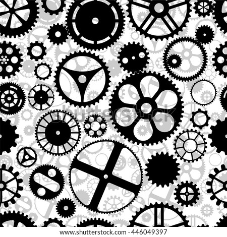 Repeating gear wheels silhouette background. Vector wallpaper that repeats left, right, up and down