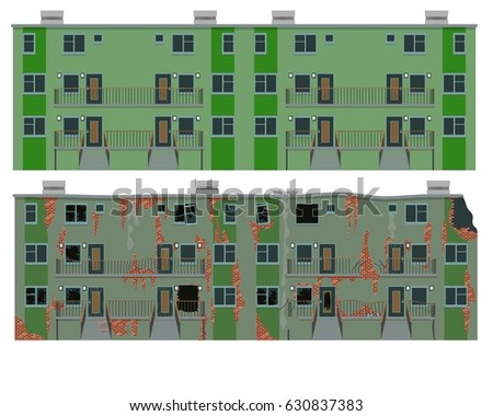 Apartment House New Old Vector Illustration Stock Vector