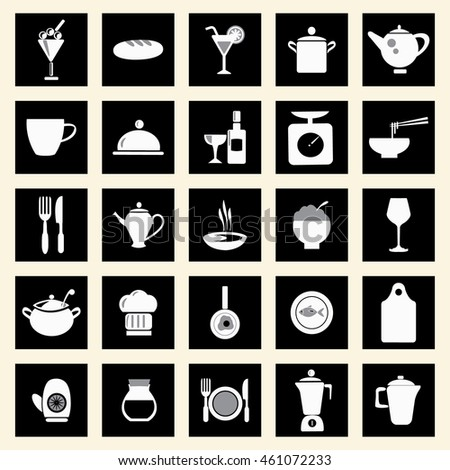 restaurant and food elements  icons set , kitchen-related utensils Icons