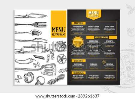 Restaurant Cafe Menu Template Design Food Stock Vector 293829791