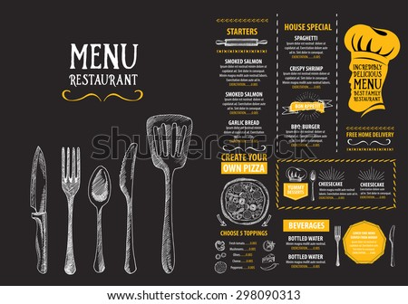 Restaurant Cafe Menu Template Design Food Stock Vector 293829758
