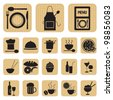 Restaurant food and drink icons set - stock photo