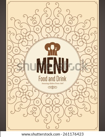 Restaurant menu design. Vector menu brochure template for cafe, coffee house, restaurant, bar. Food and drinks logotype symbol design. With chef hat, fork and spoon