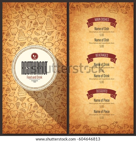 Vintage Restaurant Menu Design Pamphlet Vector Stock Vector