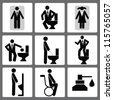 Restroom bathroom icon set,Vector - stock vector