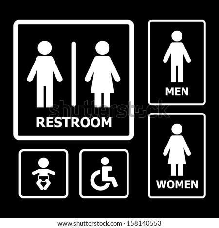 Restroom Sign Set Stock Vector 171080783 Shutterstock