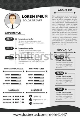 resume cv vector template nice creative stock vector 605640470