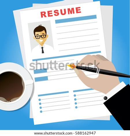 resume writing concept woman writing business resume with a pen assessment of the applicant