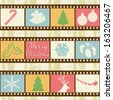 Retro background with film strips and christmas elements, vector illustration - stock