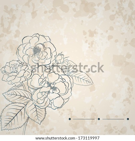 Retro background with spots and bouquet of roses in light brown colors