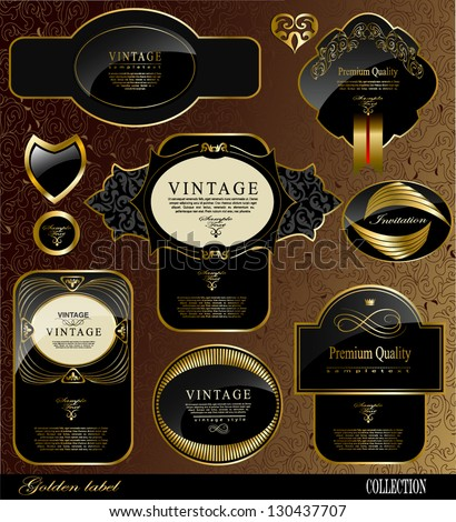 Retro black gold label/can be used for invitation, congratulation or website layout vector