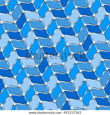 Retro blue seamless tile background on white