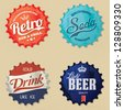 Retro bottle cap Design - Vintage bottle caps - stock vector