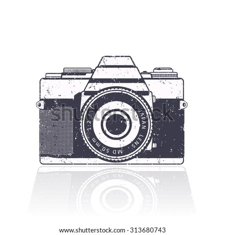 Retro camera, with grunge texture, vector, eps10