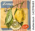 Retro card design with lemon - stock photo