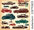 Retro cars icons set 1. Vintage cars vectors. - stock vector