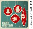 Retro Christmas card with christmas decorations - teal and red - stock