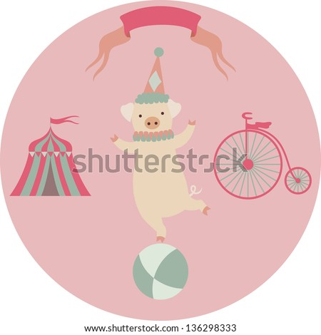 Retro circus animal vector character. Piglet.