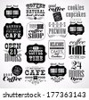 Retro Coffee  Labels and typography background . Coffee decoration collection - stock
