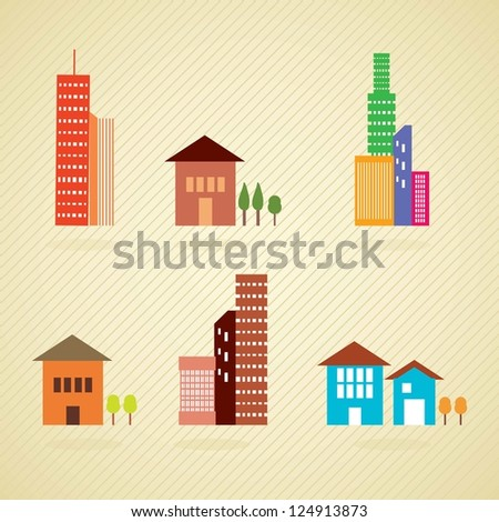 Retro colors buildings and houses, on vintage background