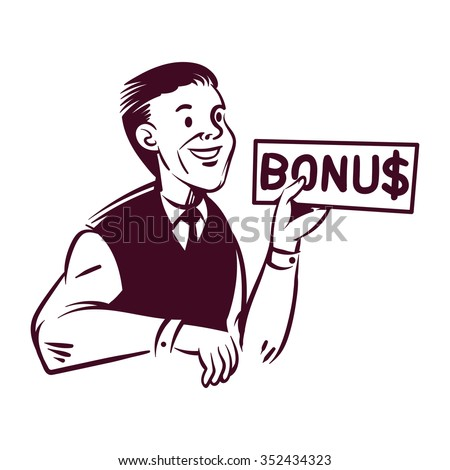 retro commercial art. vector graphic of businessman holding a bonus in hand