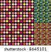 Retro disco dots pattern in 3 color ways. - stock vector
