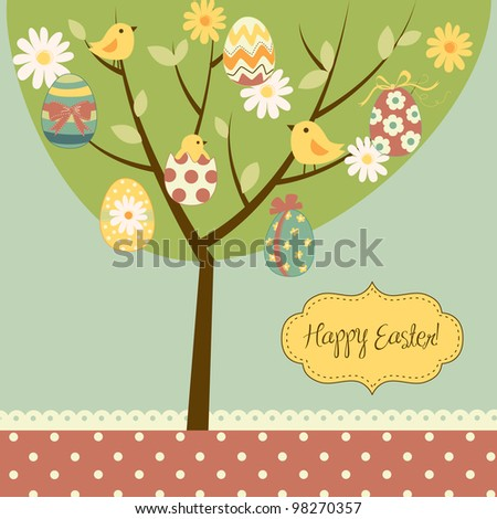 ... painted eggs, chicks, flowers and other cute elements - stock vector