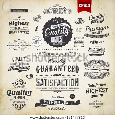 Retro elements collection for calligraphic designs | Vintage ornaments | Premium Quality labels | Guaranteed Satisfaction and Genuine Quality labels | eps10 vector set