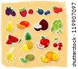 Retro fruit set - stock vector