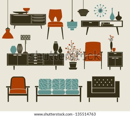 Retro Furniture Home Accessories Including Coffee Stock Vector