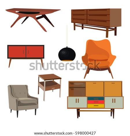 Retro Furniture Set Collection Danish Home Interior Design Living Room Vintage Armchair
